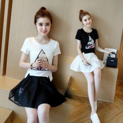Crista - Set: Printed Top + A-Line Skirt