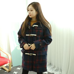 Dodostyle - Wool Blend Hooded Toggle-Button Check Coat