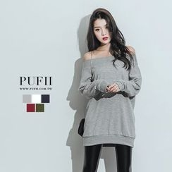 PUFII - Off-Shoulder Plain Pullover