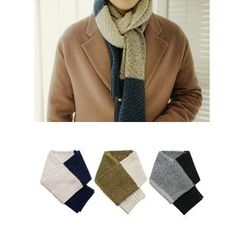 JOGUNSHOP - Color-Block Knit Scarf