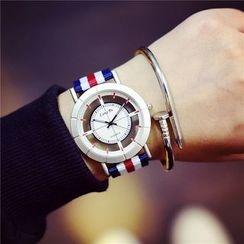 Honey Bee - 條紋帆布帶式手錶