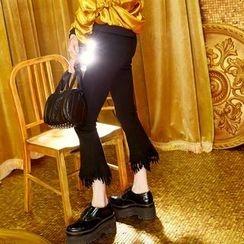 ELF SACK - Fray-Hem Boot-Cut Slim-Fit Pants