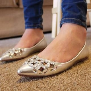 SV Footwear - Jeweled Cutout Pointy Flats
