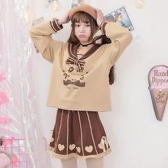 Moriville - Bear Print Sailor Collar Long Sleeve Top