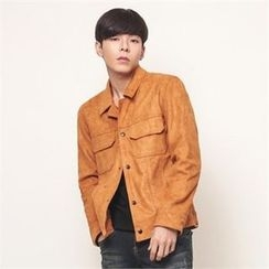 Superstar.i - Couple Dual-Pocket Faux-Suede Jacket