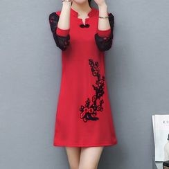 Lavogo - Flower Embroidered Long Sleeve Dress