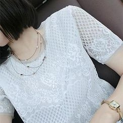 DreamyShow - Short-Sleeve Lace Top