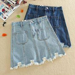 Ashlee - High-Waist A-Line Denim Skirt