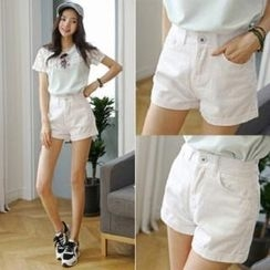Amella - Cuffed Denim Shorts