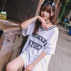 Wimi girls - Oversized Lettering Short-Sleeve T-Shirt