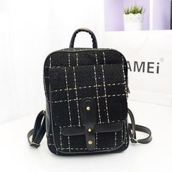 Bibiba - Plaid Canvas Backpack