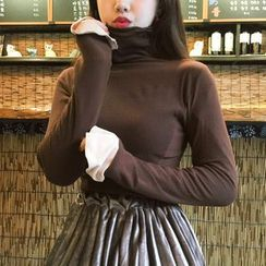 Anlay - Slim-Fit Turtleneck Panel Long-Sleeve T-Shirt