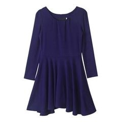 Isadora - Long-Sleeve Pleated A-Line Dress