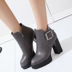 Wello - Block Heel Buckled Short Boots