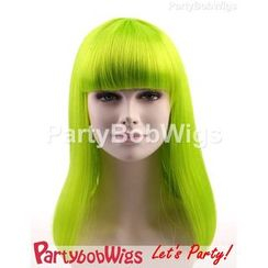 Party Wigs - PartyBobWigs - Party Long Bob Wig - Neon Lime