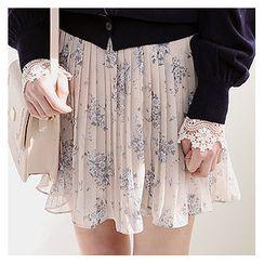 Sechuna - Floral Pattern Chiffon Mini Pleated Skirt
