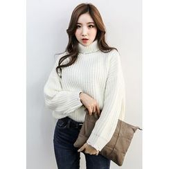 INSTYLEFIT - Turtle-Neck Distressed Rib-Knit Sweater
