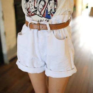 Envy Look - Loose-Fit Denim Shorts with Belt
