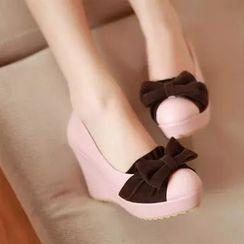 幸福鞋坊 - 拼色蝴蝶結松糕高跟鞋