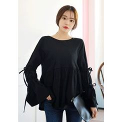 DEEPNY - Beribboned Long-Sleeve Shirred Top