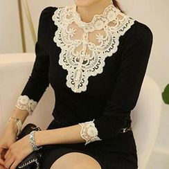 Ranee - Beaded Lace-Panel Blouse