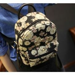 Youshine - Studded Clock Print Canvas Backpack