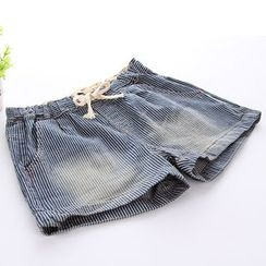 Lina Cota - Striped Drawstring Waist Denim Shorts