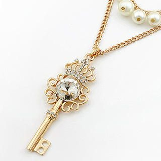 Cuteberry - Rhinestone Beaded Key Necklace