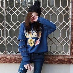 NIPONJJUYA - Slit-Sleeve Lettering Cotton Sweatshirt