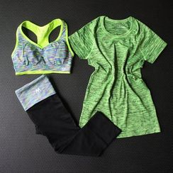 Cara Cloud - Set: Short Sleeve Sports T-Shirt + Sports Bra + Yoga Pants