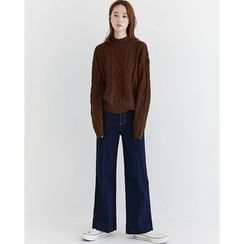 Someday, if - Mock-Neck Cable-Knit Top