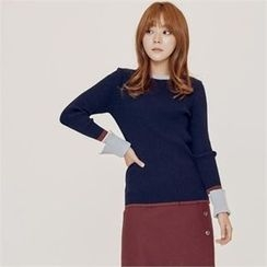 MAGJAY - Contrast-Trim Knit Top