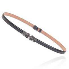 Yist! - Flower Accent Faux Patent Leather Slim Belt