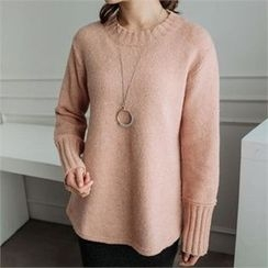 JOAMOM - Round-Neck Drop-Shoulder Knit Top