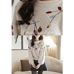 MyFiona - Leaf-Embroidered Knit Sweater