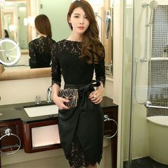 Dimanche - 套装:长袖蕾丝连衣裙 + 仿皮铅笔裙