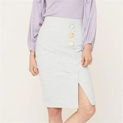 MAGJAY - High-Waist Slit-Front Skirt