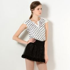 YesStyle Z - Cap-Sleeved Beaded Polka Dot Top