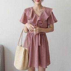 mimi&didi - Short-Sleeve Ruffled Dress with Sash