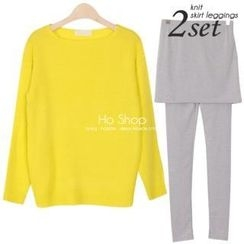 Ho Shop - Set: Round-Neck Knit Top + Inset Skirt Leggings