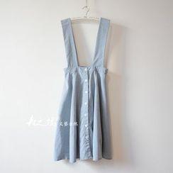 flaneur - Buttoned Stripe Midi Suspender Skirt