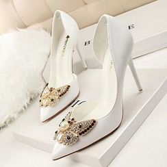 Mancienne - Rhinestone Pointy High-Heel Sandals