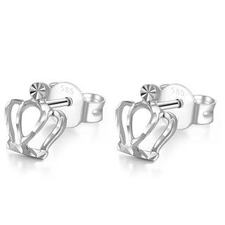 MaBelle - 14K Italian White Gold Tiny Crown In Diamond Cut Stud Post Earrings, Women Girl Jewelry in Gift Box