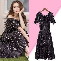 Isadora - Dotted Off-shoulder Chiffon Dress