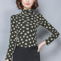 EFO - Turtleneck Star Print Fleece-Lined Top
