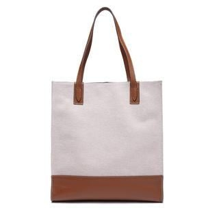 MBaoBao - Genuine-Leather Panel Canvas Tote