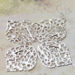 Fit-to-Kill - Luncky 4 Leaves Earrings -Silver