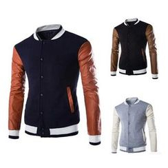 Hansel - Faux Leather Sleeve Baseball Jacket