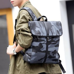 BagBuzz - Faux Leather Camo Flap Backpack