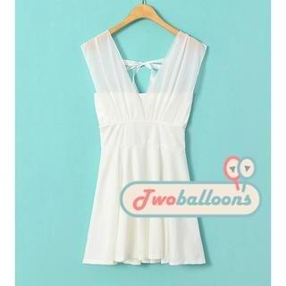 JVL - Sleeveless V-Neck Tie-Back Dress